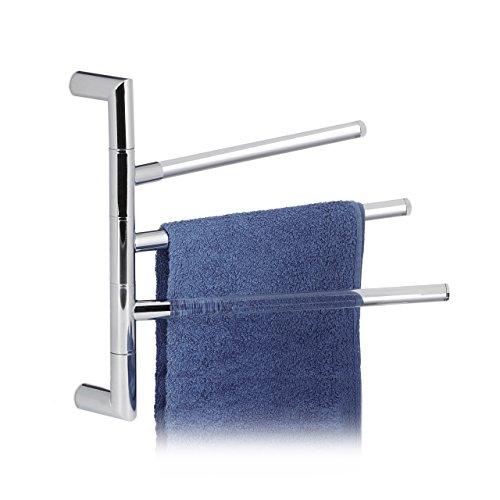 Relaxdays Handtuchhalter Wand, Badetuchhalter mit 3 transparenten Armen, Stahl verchromt & Acryl, HBT: 38x38x3cm, silber
