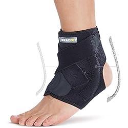 BRACOO Fußbandage mit Verstärkung – Sprunggelenkbandage – Knöchelbandage | verstellbare Fußgelenkbandage mit Klettverschluss | FP30 | S/M