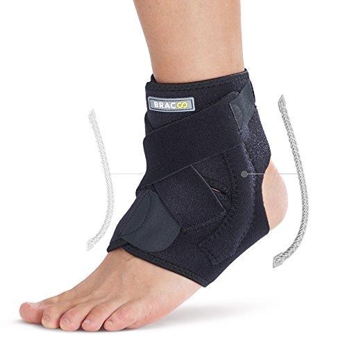 BRACOO Fußbandage mit Stabilisatoren – Sprunggelenkbandage – Knöchelbandage | verstellbare Fußgelenkbandage mit Klettverschluss | FP30 | S/M