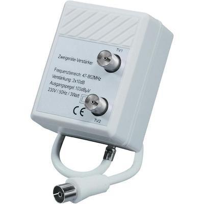 Zweigeräteverstärker für Fernseher, Frequenzbereich=47 - 862 MHz, Verstärkung=2 x 10 dB