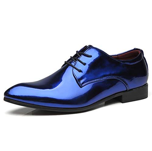 TAZAN Herren Spitzleder Smart Formal Dress Schuhe Schnürschuhe Oxford Leder gefüttert Formale FashionShoes blau rot Vier Jahreszeiten atmungsaktiv Große Größe Hochzeit Schuhe Klassische,Blue,43