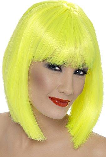 Smiffys, Damen Glamour Perücke, Kurzer Bob mit Pony, One Size, Neon Gelb, 42143