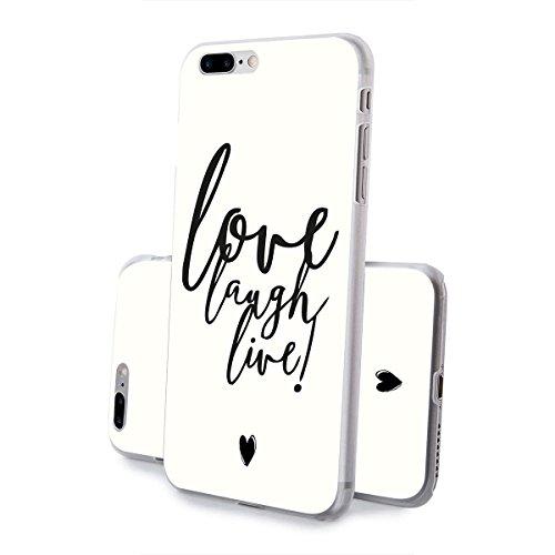 finoo | iPhone 8 Handy-Tasche Schutzhülle | ultra leichte transparente Handyhülle in harter Ausführung | kratzfeste stylische Hard Schale mit Motiv Cover Case | Watercolor heart butterflies Love laugh live
