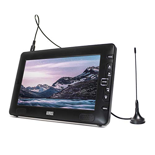 "August DTV905 - 9"" Portable Freeview TV - Small Screen LCD Television with Multimedia Player - Digital TV for Bedroom, Kitchen, Caravan... - Battery (Internal) or Mains Powered"