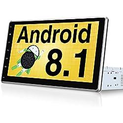 PUMPKIN Android 8.1 Universal Car Stereo Sat Nav Bluetooth Car Radio Support GPS Navigation Dab+ WiFi Android Auto 128 GB USB SD con 10,1 Pulgadas IPS Pantalla táctil Desmontable