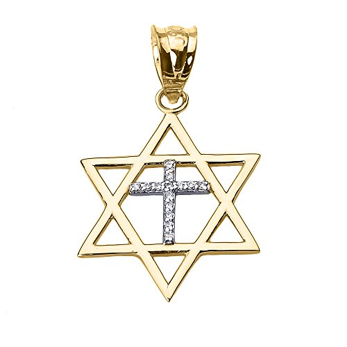 haute-polonais-10-k-or-jaune-charme-pendentif-etoile-diamant-croix-de-david-juive
