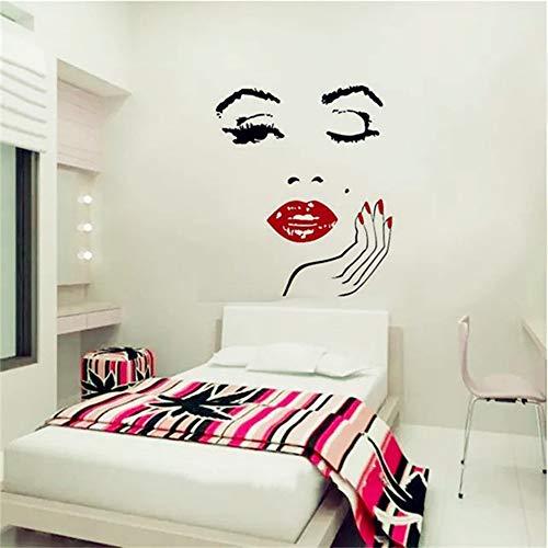 yiyiyaya Beauty Salon Mädchen Gesicht mit Hand Maniküre Nagel Lippen Wandtattoos Vinyl Wandaufkleber Innenausbau Kunst Wandbilder Aufkleber56 * 71 cm