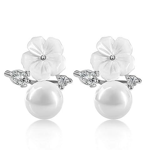 Les Bijoux En Argent Fleurs Boucles D'oreilles Perle Mode Coréenne Sucrées Les Boucles D'oreilles Stud Oreille-A