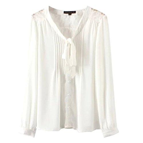 QIYUN.Z Frauen Schnueren Spleissen Schmetterlingsknoten Shirt Lange aermel Einfarbig Fashion Weiß