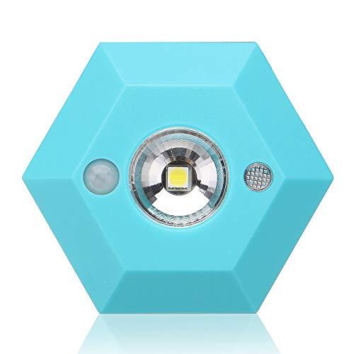 LHWY Kabelloses Nachtlicht PIR Motion Auto Sensor 6LED Lampe leuchtet batteriebetrieben (Blue) -