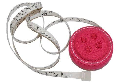 alles-meine.de GmbH Maßband zum Einrollen 1,5 m - Knopf rosa pink bunt Rollmaßband Bandmaß Schneidermaßband 150 cm Mini