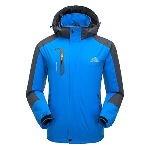 Lixada Softshelljacke Wasserdicht Winddichte Skijacke Damen Outdoorjacke Warme Winterjacke Regenjacke Sportbekleidung (Hellblau männlich, XL(EU))