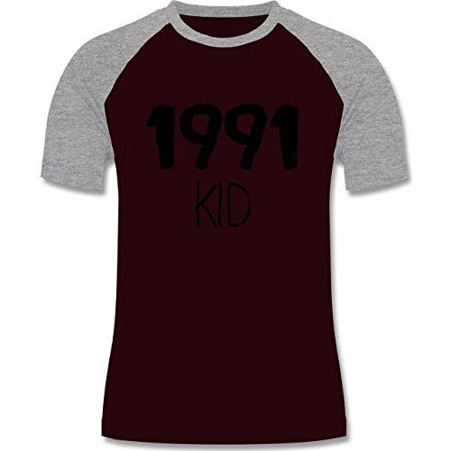 Geburtstag - 1991 KID - zweifarbiges Baseballshirt für Männer Burgundrot/Grau meliert