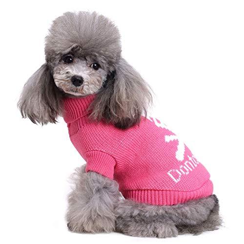 CHIYEEE Weihnachtspullover für Hunde und Katzen Weihnachten Hundepullover Warm Hundepulli Winter Strickpullover Sweater ()