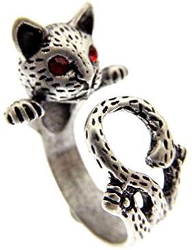 Katzen Ring antik silberfarben