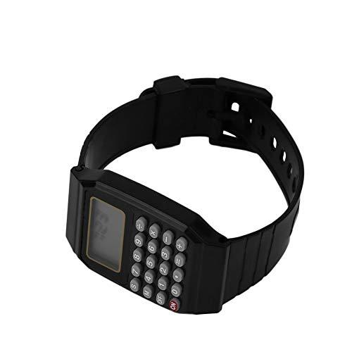 Praktische Kinder Studenten Taschenrechner Digitaluhr Einfarbig Silikon Komfortable Abnutzung Taschenrechner Armbanduhr Für Kinder - Schwarz