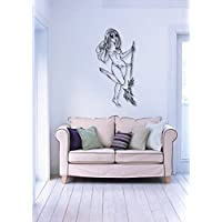 GGWW Wall Stickers Vinyl Decal Beautiful Woman Pin Up Sexy Lingerie Broom I826 - Cat Broom