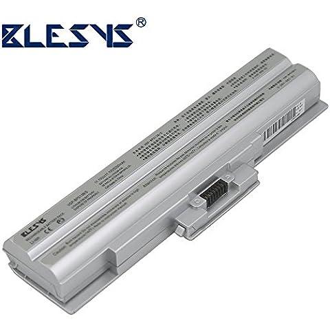 BLESYS 6-celular del ordenador portátil totalmente decodificado de la batería para reemplazar SONY VGP-BPL13, VGP-BPL21, VGP-BPS13, VGP-BPS1321B, VGP-BPS13A, VGP-BPS13AB, VGP-BPS13B, VGP-BPS21, VGP-BPS21A, VGP-BPS21B hicieron SONY VAIO VGN-FW11M, VGN-FW139E / H, VGN-FW145E / W, VGN-FW17W, VGN-FW190EBH, VGN-SR16 Serie (5200mAh, Plug and Play, no es necesario actualizar nada, plata)