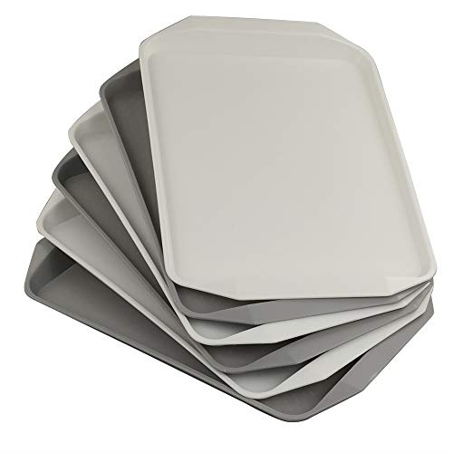 Bandejas de plástico Qshape 3 gris y 3 blancas para servir