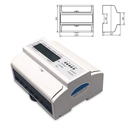 DOMINTY LCD digitaler Drehstromzähler Stromzähler MID GEEICHT/BEGLAUBIGT 3x230/400V 5(100) A mit S0 Interface für DIN Hutschiene