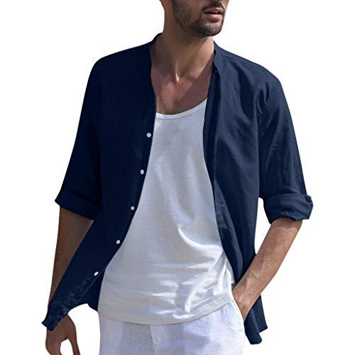 B-commerce Leinenhemd Herren Regular Fit Sieben-Viertel-Ärmel Hemd Herren Button-down Freizeithemden aus Leinen (Angel X Men Kostüm)