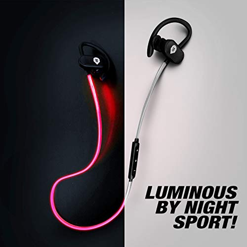 Auriculares Bluetooth Deportivos Luminosos Encore Soul Run, Marca Francesa, Auriculares inalambricos Bluetooth 12h Sonido estéreo, Cascos Bluetooth con Micro para Apple: iPhone, iPad; Samsung, Huawei