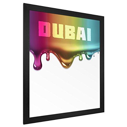 "Bilderrahmen Massivholz, lackiert ""Dubai"" Schwarz 80x120cm Antireflex"
