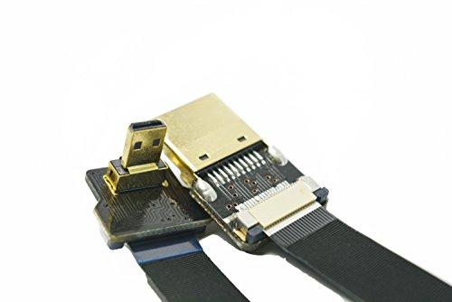 FPV Flaches dünnes HDMI Kabel Micro HDMI 90 Grad auf Standard HDMI Full HDMI Normale HDMI für GoPro Sony A7RII A7SII A9 A6500 A6300 (nicht für Sony A6000) Schwarz 80cm
