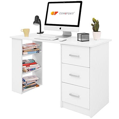 COMIFORT T04B - Escritorio con Cajones y Estantes, Mesa De Oficina, Escritorios De Despacho, 120x49x72 Cm, Color Blanco