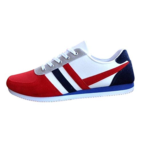 Sneakers Classic Plus Fashion Lace Up Mocassini Sportivi Sneakers Casual Scarpe Basse in Tela da Uomo (39 EU,Rosso)