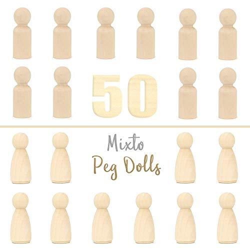RUBY - Peg doll, holzfiguren mann und frau, spielfiguren zum bemalen basteln holz (Mann/Frau, 5,3 cm) (Doll Ruby)