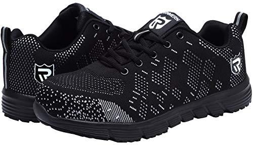 Zapatos de Seguridad para Mujer, Flyknit Punta de Acero Anti Pinchazo Ligero Zapatos Trabajo Reflexivo Botas de Seguridad LM-121