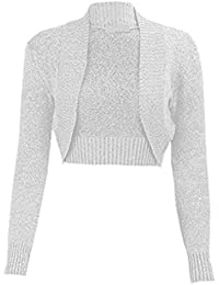 ad7627f8b0dfa1 M98 WOMENS CROPPED METALLIC BOLERO LONG SLEEVE PARTY LUREX SHRUG LADIES  KNITTED PLUS SIZE EVENING…