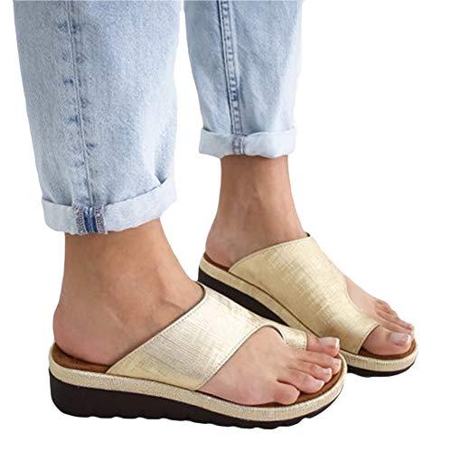 Women's Slippers Summer Sandals Sandals Wedge Heel Plateau Open Bohemia Ankle Strap Summer Roman Sandals flip Flop Beach Shoes Gold 41EU