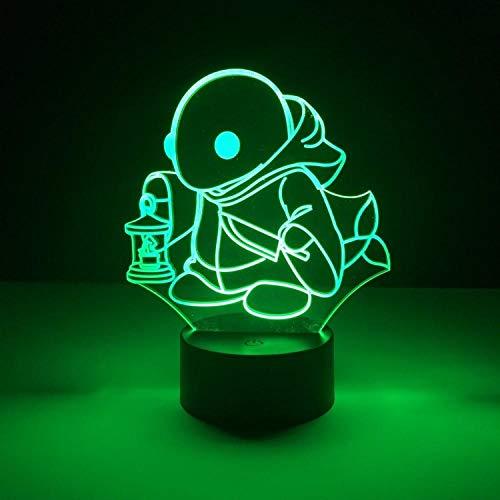 WEREWTR Monster 3D Nachtlicht Home Decoration Touch 7 Farbwechsel Illusion Lava Lampe