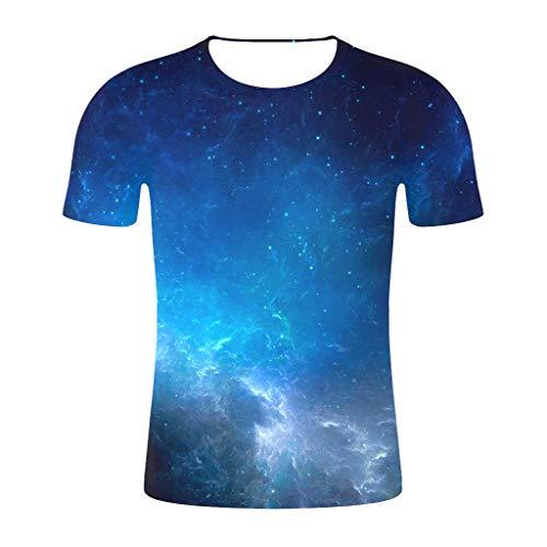 Routinfly 2019 Neue Galaxy Space Unisex 3D Print Kurzarm,Männer 2019 Neue Herren Damen Sommer Beiläufige Lose Mode T-Shirt Grafik Tops Plus Size Shirt T-Shirt Tunika Pullover Bluse (Fünf Unten Halloween-t-shirts)