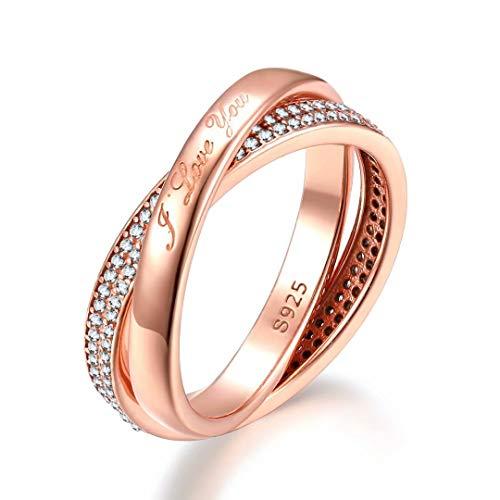 Presentski 925 Sterling Silber Rosé Gold Vergoldet Twist Love Ring mit Zirkonia Verlobung Ring 60 für Damen
