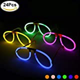 KYC 24 Pezzi Occhiali Luminosi Fosforescenti Starlight Fluorescenti Disco Glow Party 6 mix di colori assortiti giocare in party supplies con imballaggio individuale