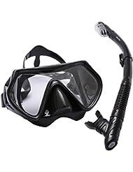 Bezzee-Dive Gafas de buceo – impermeable – silicona – visión clara – vista amplia – adultos - no se empaña – respirar fácil – cómodos – set snorkel seco con una bonita bolsa de viaje