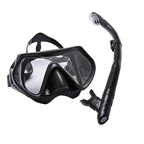 Set da snorkeling Bezzee-Pro-impermeabile-silicone-maschera da sub-visioneampia e limpida-adulti-anti appannamento-confortevole-completo di eleganteborsa da viaggio