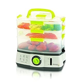 Sensio Home Steama Food Steamer   3 Tier Electric Food Steamers for Cooking Vegetables and Healthy Food Fast   Instant Steam Function and 9 Litre Capacity Lockable Containers