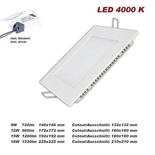 LPK LED Flach-Panel 18W für Deckeneinbau quadratisch mit weißem Rahmen Natürlich weiß 4000 K (18)