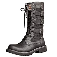 Steampunk Boots Mens Flat Low Heel Lace Up Westerm Combat Boot Motorcycle Shoes Snow Booties