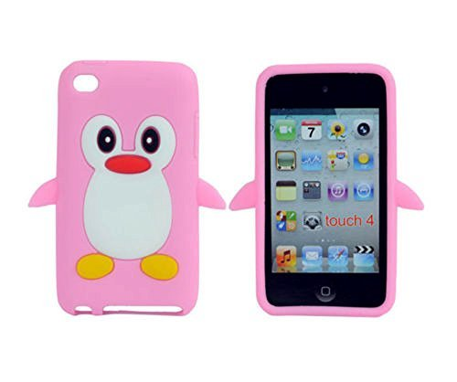 TSMINE Apple Ipod Touch 4. Generation Pinguin-Karikatur-Fall - Cute 3D Penguin Weiche Silikon-Rückseite waschbar Cover Case Schutzhülle für iPod Touch 4. Gen, Baby Pink