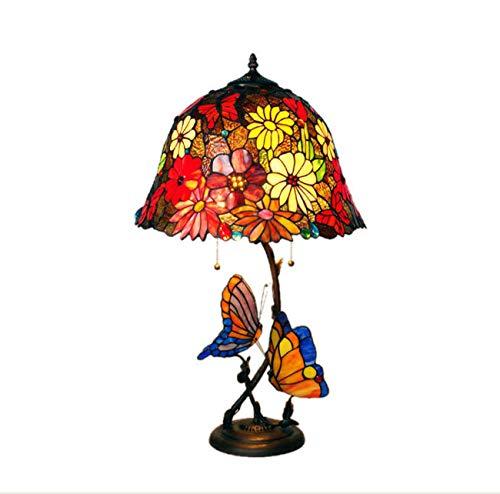 Yjmgrowing 16-Zoll Sonnenblume Tiffany Stil Gesteppte Glastisch Lampe mit Metall-Basis für Schlafzimmer-Studierendenzimmer Art Lighting,E27-Glühbirnen Nicht enthalten -