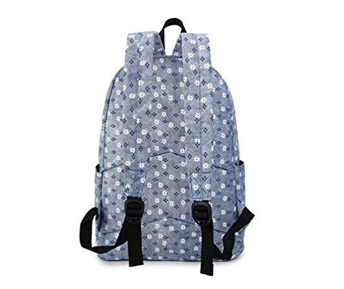 Go Further Neue Art und Weise Blumenmuster Freizeit adretten Art Student grauen Rucksack Blau