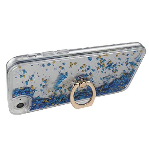 Coque iPhone 7 Liquide Sables Mouvants (4.7 pouce), iPhone 7 Coque Ring, 360 Degrés de Rotation Bague support doigt iPhone 7, Moon mood® 3D Case Fashion Étui iPhone 7 Silicone Coque de Protection Tran Bleu