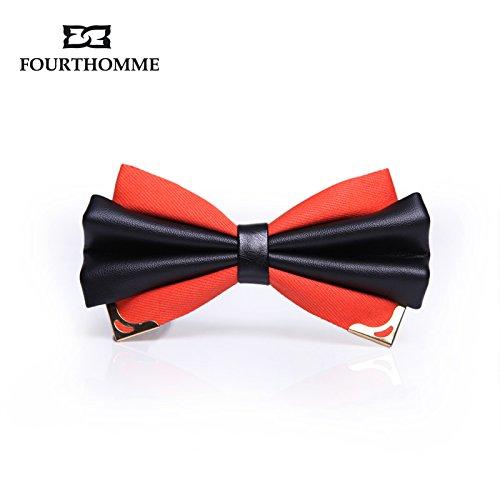 lpkone-Men's Bow tie mâle double mariage marié bows gift box Orange-Golden Horn