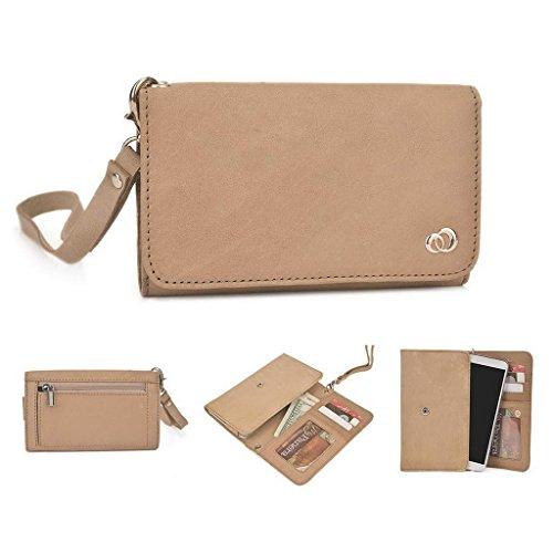 Kroo véritable cuir téléphone portable d'embrayage pour LG G4Dual marron Tan marron