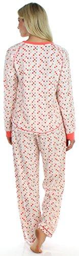 Frankie & Johnny langärmliger Fleece-Pyjama für Damen, Schlafanzug, Nachtwäsche Kaugummi